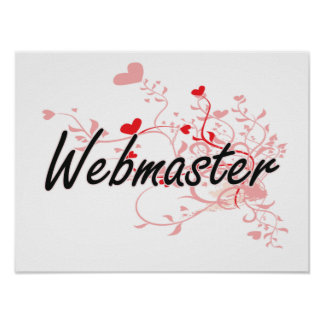 Webmaster Artistic Job Design with Hearts Poster