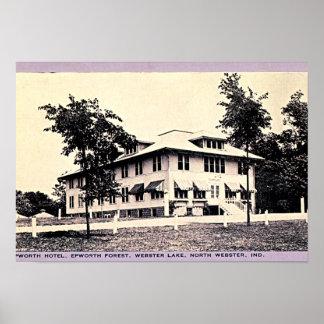 Webster del norte, hotel de Indiana Epworth, lago  Poster