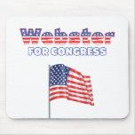 Webster para la bandera americana patriótica del c alfombrilla de ratones