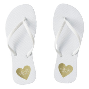 5465ebc4f wed love celebration personalized gold heart flip flops