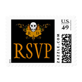Wed RSVP Postage - Halloween Orange & Black Skull