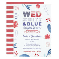 WED White Blue Couples Shower or Engagement Party Invitation