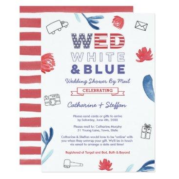 Wed White Blue Virtual Wedding Shower By Mail Invitation