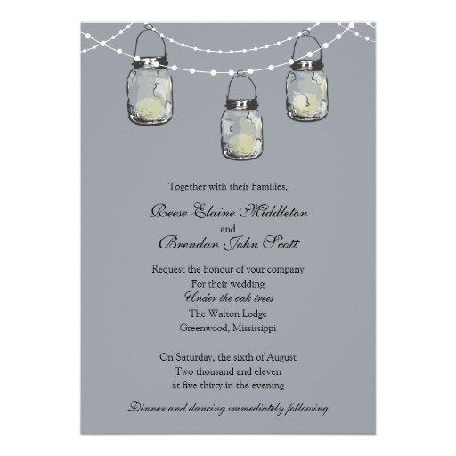 Wedding - 3 Hanging Mason Jars Personalized Announcement