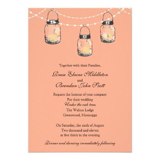 Wedding - 3 Hanging Mason Jars Personalized Announcements