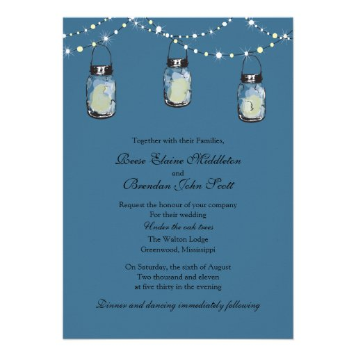 Wedding - 3 Hanging Mason Jars Invitations