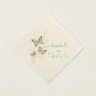 Wedding 3 ink butterflies teal cream paper napkin