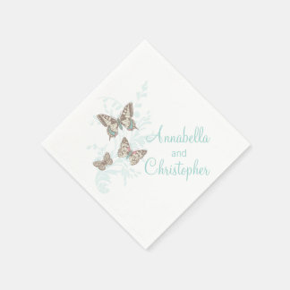 Wedding 3 ink butterflies teal white paper napkin