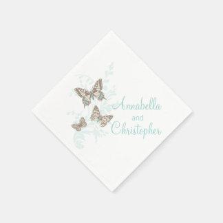 Wedding 3 ink butterflies teal white paper napkin