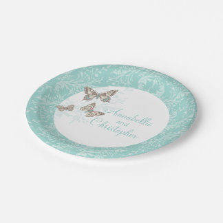 Wedding 3 ink butterflies teal white paper plate 7 inch paper plate