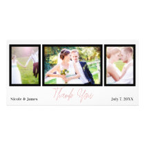 Wedding 3 Photo Picture Pink Rose Gold Thank You Card