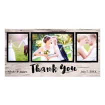 Wedding 3 Photo Picture Rustic Birch Thank You Card