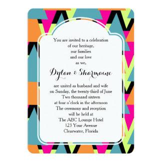 Wedding 80's Style Geometric Pattern 5.5x7.5 Paper Invitation Card