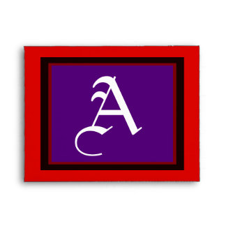 """Wedding """"A"""" White Letter Purple Red and Black Envelopes"""