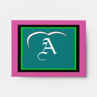 "Wedding ""A"" White White Heart  Purple Green Black Envelopes"