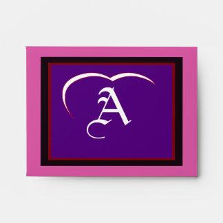 "Wedding ""A"" White White Heart  Purple Red Black Envelopes"