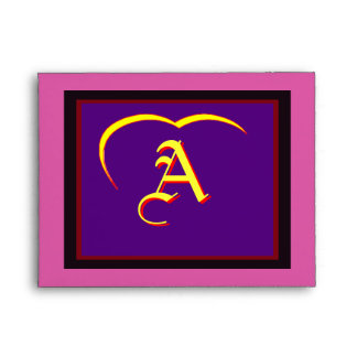 "Wedding ""A"" Yellow Yellow Heart  Purple Red Black Envelopes"