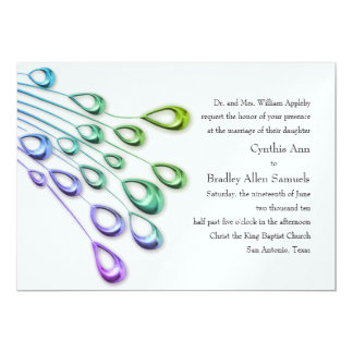 Wedding Abstract Peacock Feathers Set 1106 5x7 Paper Invitation Card