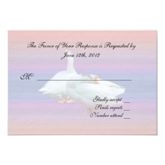 """wedding acceptance RSVP card, two white geese 3.5"""" X 5"""" Invitation Card"""