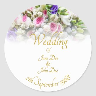 Wedding Accessories - Bride with colorful wedding Classic Round Sticker