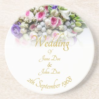 Wedding Accessories - Bride with colorful wedding Coaster