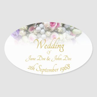 Wedding Accessories - Bride with colorful wedding Oval Sticker