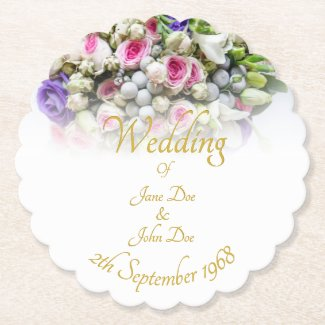 Wedding Accessories - Bride with colorful wedding Paper Coaster