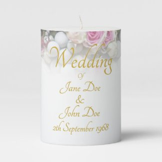 Wedding Accessories - Bride with colorful wedding Pillar Candle