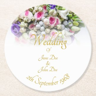 Wedding Accessories - Bride with colorful wedding Round Paper Coaster