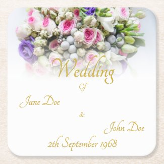 Wedding Accessories - Bride with colorful wedding Square Paper Coaster