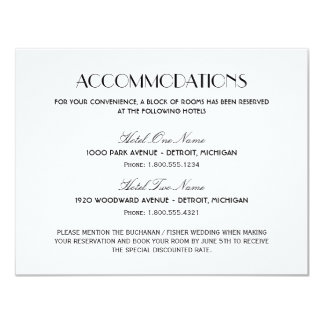 Wedding Accommodation Card | Art Deco Style Personalized Invitations