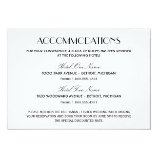 "Wedding Accommodation Card | Art Deco Style 3.5"" X 5"" Invitation Card"