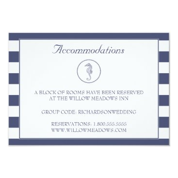 Beach Themed Wedding Accommodation Card | Blue Seahorse
