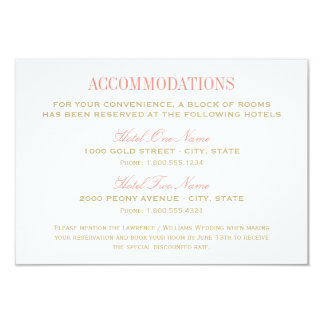 Wedding Accommodation Card | Coral and Gold