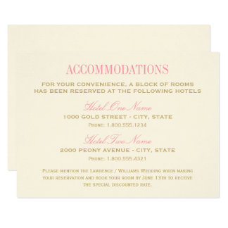 Wedding Accommodation Card | Pink and Gold