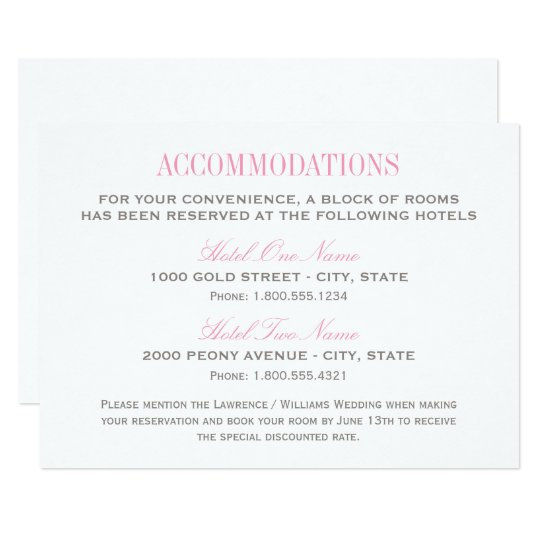 wedding accommodation card pink and gray. Black Bedroom Furniture Sets. Home Design Ideas