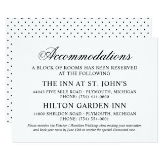 Wedding Accommodations | Black Classic Elegance Card