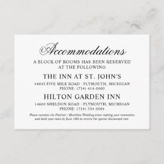 Wedding Accommodations | Black Classic Elegance Enclosure Card