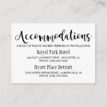 Wedding Accommodations Card | Black Script
