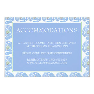 Wedding Accomodations Card  Blue Watercolor Floral