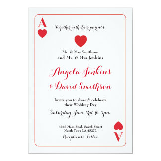 Wedding Ace Of Hearts Playing Card Party Invite