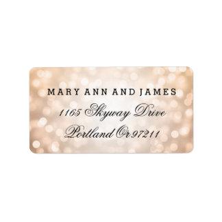 Wedding Address Copper Glitter Lights Address Label