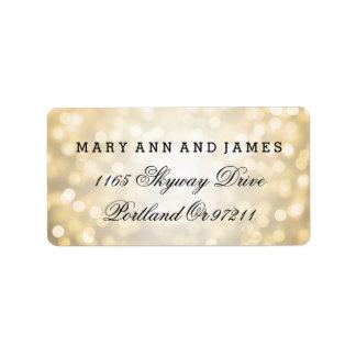 Wedding Address Gold Glitter Lights Address Label
