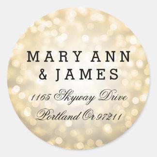 Wedding Address Gold Glitter Lights Classic Round Sticker