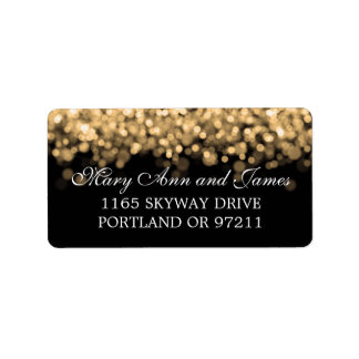 Wedding Address Gold Lights Label