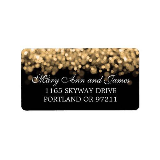 Wedding Address Gold Lights Address Label