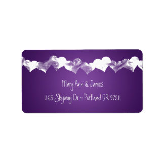 Wedding Address Grunge Hearts Purple Label