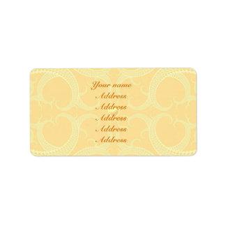 Wedding Address Label - Cream Ivory Gold Pattern