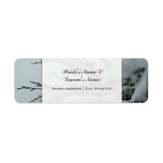 Wedding Address Label - Evergreen Tree With Snow