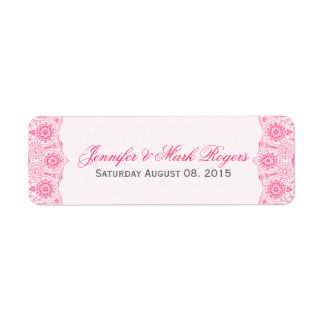 Wedding Address Label Pink Lace & Damasks Back